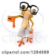 Clipart Of A 3d Bespectacled Yellow Frog Looking Up Holding An Open Book And A Thumb Down Royalty Free Illustration