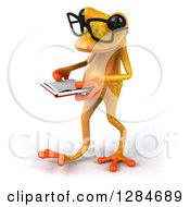 Clipart Of A 3d Bespectacled Yellow Frog Walking To The Left And Reading A Book Royalty Free Illustration