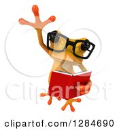 Clipart Of A 3d Bespectacled Yellow Frog Leaping And Reading A Book Royalty Free Illustration