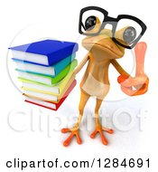 Clipart Of A 3d Bespectacled Yellow Frog Looking Up Holding Up A Thumb And A Stack Of Books Royalty Free Illustration