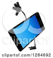 Clipart Of A 3d Smart Phone Character Cartwheeling Royalty Free Illustration