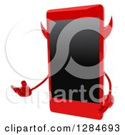 Clipart Of A 3d Devil Smart Phone Character Presenting Royalty Free Illustration by Julos