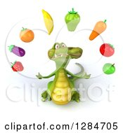 Clipart Of A 3d Crocodile Looking Up And Juggling Produce Royalty Free Illustration