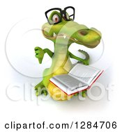 Clipart Of A 3d Bespectacled Crocodile Looking Up Reading A Book And Holding A Thumb Down Royalty Free Illustration