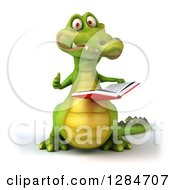 Clipart Of A 3d Crocodile Reading A Book And Giving A Thumb Up Royalty Free Illustration