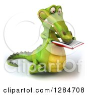 Clipart Of A 3d Crocodile Walking Slightly Right And Reading A Book Royalty Free Illustration