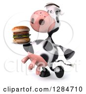 Clipart Of A 3d Cow Walking To The Left And Carrying A Double Cheeseburger On A Plate Royalty Free Illustration