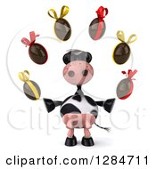 Clipart Of A 3d Cow Wearing Sunglasses And Juggling Chocolate Easter Eggs Royalty Free Illustration