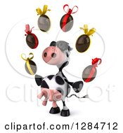 Clipart Of A 3d Cow Wearing Sunglasses Facing Slightly Left And Juggling Chocolate Easter Eggs Royalty Free Illustration