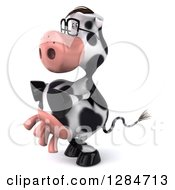 Clipart Of A 3d Bespectacled Cow Facing Left Royalty Free Illustration