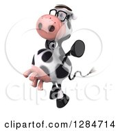 Clipart Of A 3d Bespectacled Cow Facing Left And Jumping Royalty Free Illustration