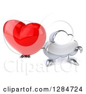 Clipart Of A 3d Silver Cloud Character Holding A Love Heart Royalty Free Illustration