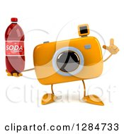 Clipart Of A 3d Yellow Camera Character Holding Up A Finger And A Soda Bottle Royalty Free Illustration