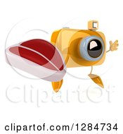 Clipart Of A 3d Yellow Camera Character Facing Slightly Right Jumping And Holding A Beef Steak Royalty Free Illustration