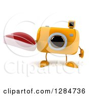 Clipart Of A 3d Yellow Camera Character Holding A Beef Steak Royalty Free Illustration