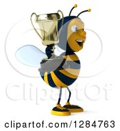 Clipart Of A 3d Bee Facing Right And Holding A Trophy Royalty Free Illustration