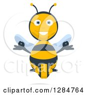 Clipart Of A Happy Cartoon Bee Character Meditating Royalty Free Illustration