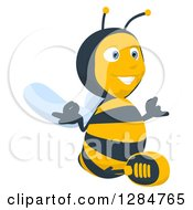 Clipart Of A Happy Cartoon Bee Character Facing Slightly Right And Meditating Royalty Free Illustration
