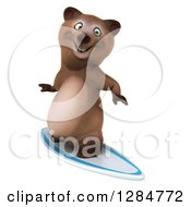 Clipart Of A 3d Brown Bear Surfing Royalty Free Illustration