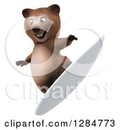 Clipart Of A 3d Brown Bear Tipping His Board And Surfing Royalty Free Illustration