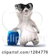 Clipart Of A 3d Traveling Polar Bear Wearing Sunglasses And Walking With A Rolling Suitcase Royalty Free Illustration