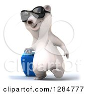 Clipart Of A 3d Traveling Polar Bear Wearing Sunglasses And Walking Slightly Left With A Rolling Suitcase Royalty Free Illustration