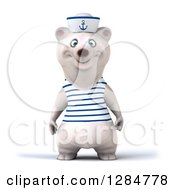 Clipart Of A 3d Polar Bear Sailor Royalty Free Illustration