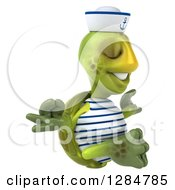 Clipart Of A 3d Tortoise Sailor Facing Right And Meditating Royalty Free Illustration