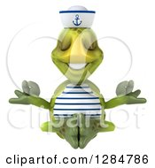 Clipart Of A 3d Tortoise Sailor Meditating Royalty Free Illustration