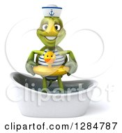 Clipart Of A 3d Tortoise Sailor Wearing A Duck Inner Tube And Standing In A Bath Tub Royalty Free Illustration