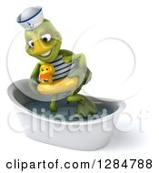 Clipart Of A 3d Tortoise Sailor Wearing A Duck Inner Tube And Stepping In A Bath Tub Royalty Free Illustration
