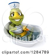Clipart Of A 3d Tortoise Sailor Wearing A Duck Inner Tube In A Bath Tub Royalty Free Illustration