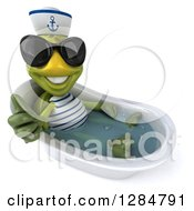 Clipart Of A 3d Tortoise Sailor Wearing Sunglases Holding A Thumb Up And Bathing In A Tub Royalty Free Illustration