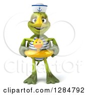 Clipart Of A 3d Tortoise Sailor Wearing A Duck Inner Tube Royalty Free Illustration