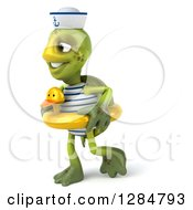 Clipart Of A 3d Tortoise Sailor Walking And Wearing A Duck Inner Tube Royalty Free Illustration