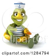 Clipart Of A 3d Tortoise Sailor Sitting And Wearing A Duck Inner Tube Royalty Free Illustration