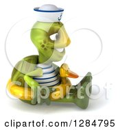 Clipart Of A 3d Tortoise Sailor Facing Right Sitting And Wearing A Duck Inner Tube Royalty Free Illustration
