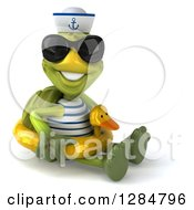 Clipart Of A 3d Tortoise Sailor Wearing Sunglasses Sitting And Wearing A Duck Inner Tube Royalty Free Illustration