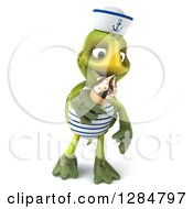 Clipart Of A 3d Tortoise Sailor Walking And Eating A Waffle Ice Cream Cone Royalty Free Illustration