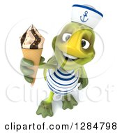 Clipart Of A 3d Tortoise Sailor Holding Up A Waffle Ice Cream Cone Royalty Free Illustration