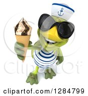 Clipart Of A 3d Tortoise Sailor Wearing Sunglasses And Holding Up A Waffle Ice Cream Cone Royalty Free Illustration