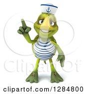 Clipart Of A 3d Tortoise Sailor Holding Up A Finger Royalty Free Illustration