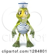 Clipart Of A 3d Tortoise Sailor Royalty Free Illustration