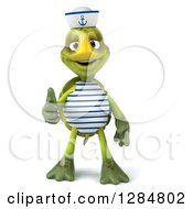 Clipart Of A 3d Tortoise Sailor Giving A Thumb Up Royalty Free Illustration