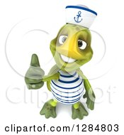 Clipart Of A 3d Tortoise Sailor Holding A Thumb Up Royalty Free Illustration