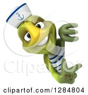 Clipart Of A 3d Tortoise Sailor Pointing Around A Sign Royalty Free Illustration