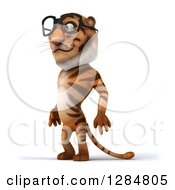 Clipart Of A 3d Bespectacled Tiger Facing Left Royalty Free Illustration