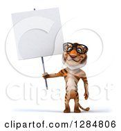 Clipart Of A 3d Bespectacled Tiger Holding A Blank Sign Royalty Free Illustration