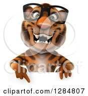 Clipart Of A 3d Bespectacled Tiger Pointing Down Over A Sign Royalty Free Illustration