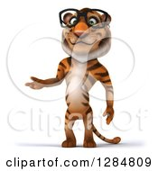 Clipart Of A 3d Bespectacled Tiger Presenting Royalty Free Illustration